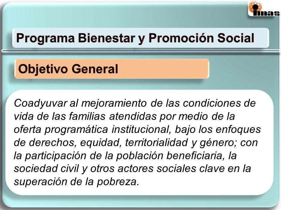 Coadyuvar al mejoramiento de las condiciones de vida de las familias atendidas por medio de la oferta programática institucional, bajo los enfoques de
