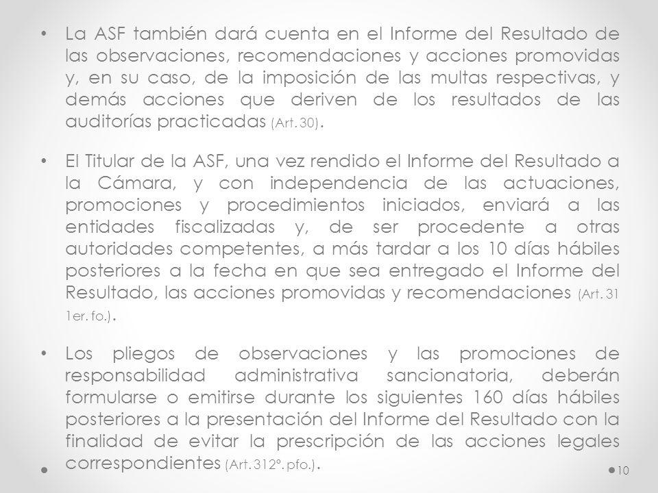 La ASF también dará cuenta en el Informe del Resultado de las observaciones, recomendaciones y acciones promovidas y, en su caso, de la imposición de