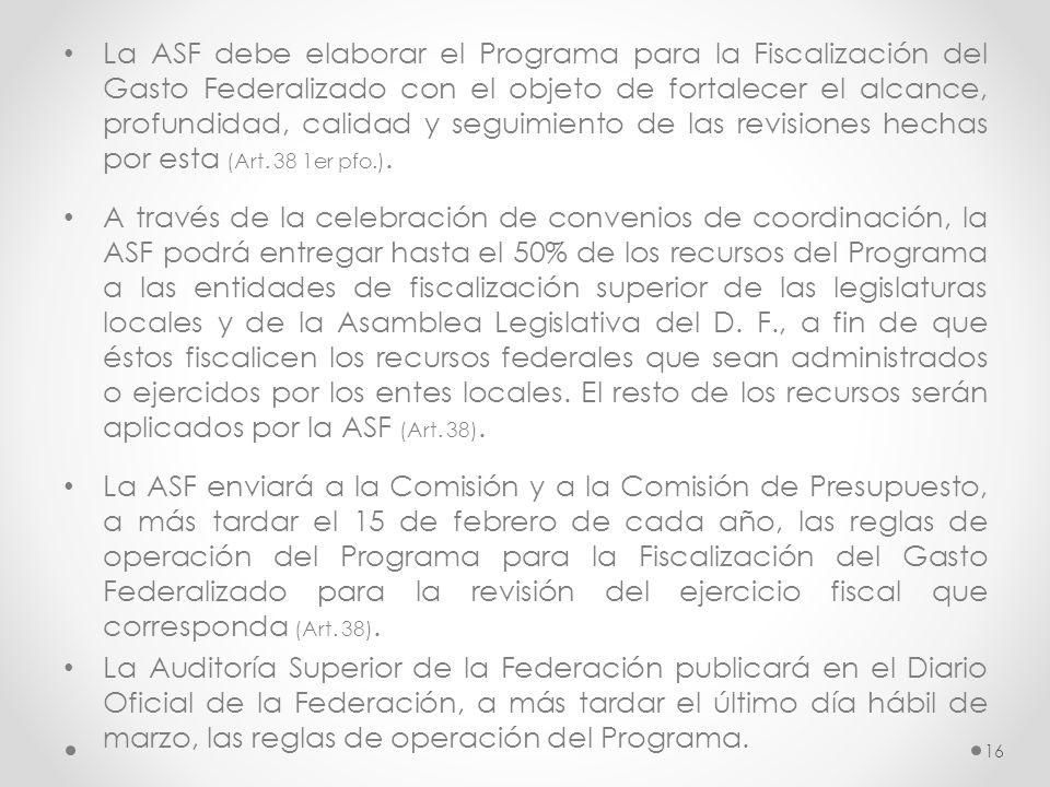 La ASF debe elaborar el Programa para la Fiscalización del Gasto Federalizado con el objeto de fortalecer el alcance, profundidad, calidad y seguimien