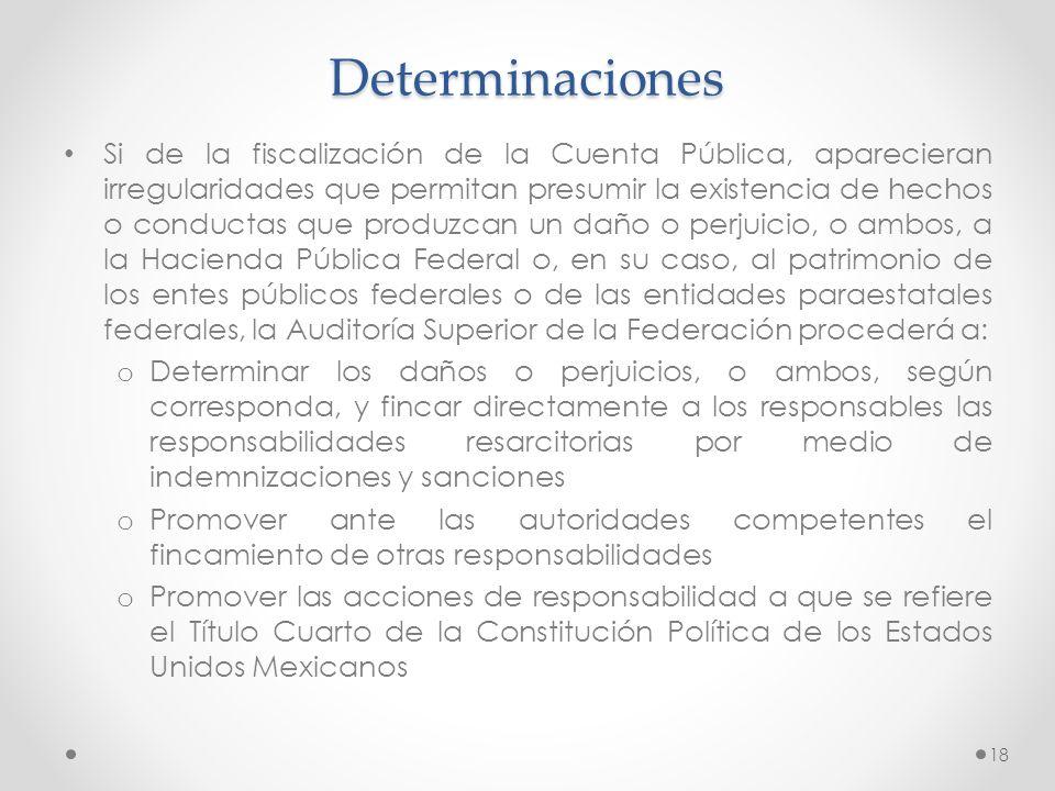 Determinaciones Si de la fiscalización de la Cuenta Pública, aparecieran irregularidades que permitan presumir la existencia de hechos o conductas que