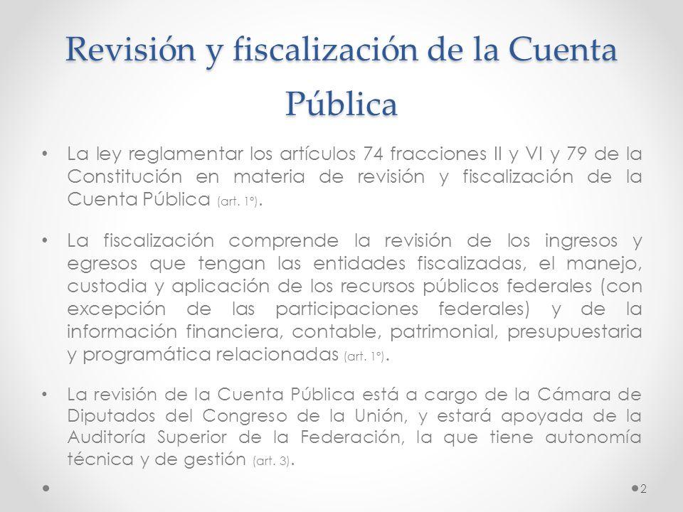 Revisión y fiscalización de la Cuenta Pública La ley reglamentar los artículos 74 fracciones II y VI y 79 de la Constitución en materia de revisión y