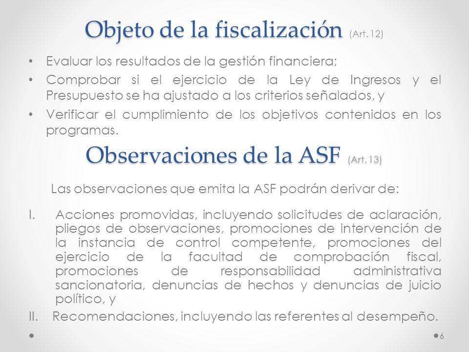 Objeto de la fiscalización Objeto de la fiscalización (Art. 12) Evaluar los resultados de la gestión financiera; Comprobar si el ejercicio de la Ley d