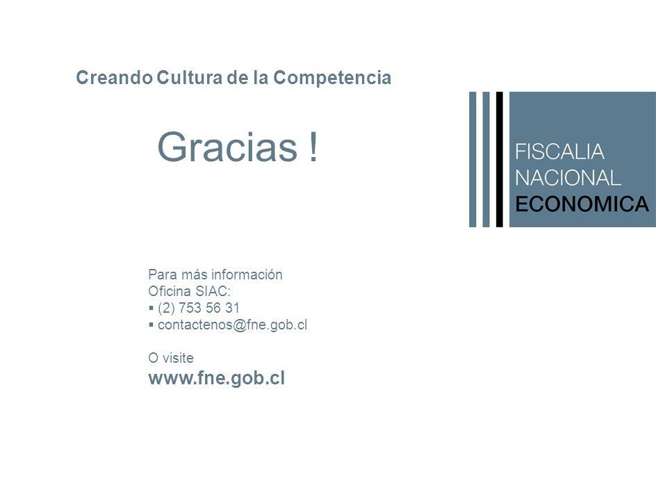 Para más información Oficina SIAC: (2) 753 56 31 contactenos@fne.gob.cl O visite www.fne.gob.cl Creando Cultura de la Competencia Gracias !