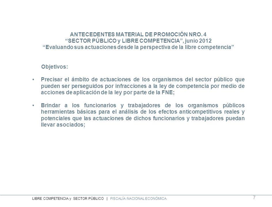 ANTECEDENTES MATERIAL DE PROMOCIÓN NRO. 4 SECTOR PÚBLICO y LIBRE COMPETENCIA, junio 2012 Evaluando sus actuaciones desde la perspectiva de la libre co
