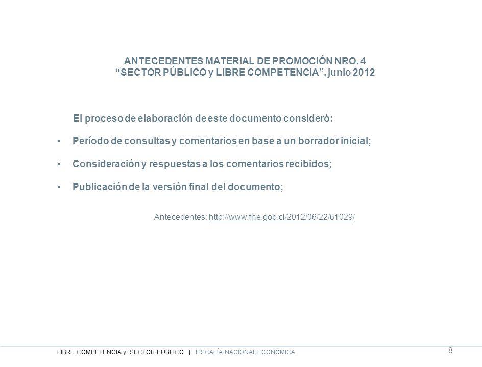 ANTECEDENTES MATERIAL DE PROMOCIÓN NRO. 4 SECTOR PÚBLICO y LIBRE COMPETENCIA, junio 2012 El proceso de elaboración de este documento consideró: Períod