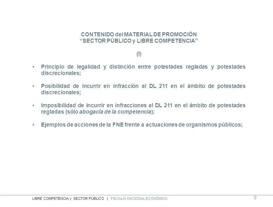 CONTENIDO del MATERIAL DE PROMOCIÓN SECTOR PÚBLICO y LIBRE COMPETENCIA (I) Principio de legalidad y distinción entre potestades regladas y potestades