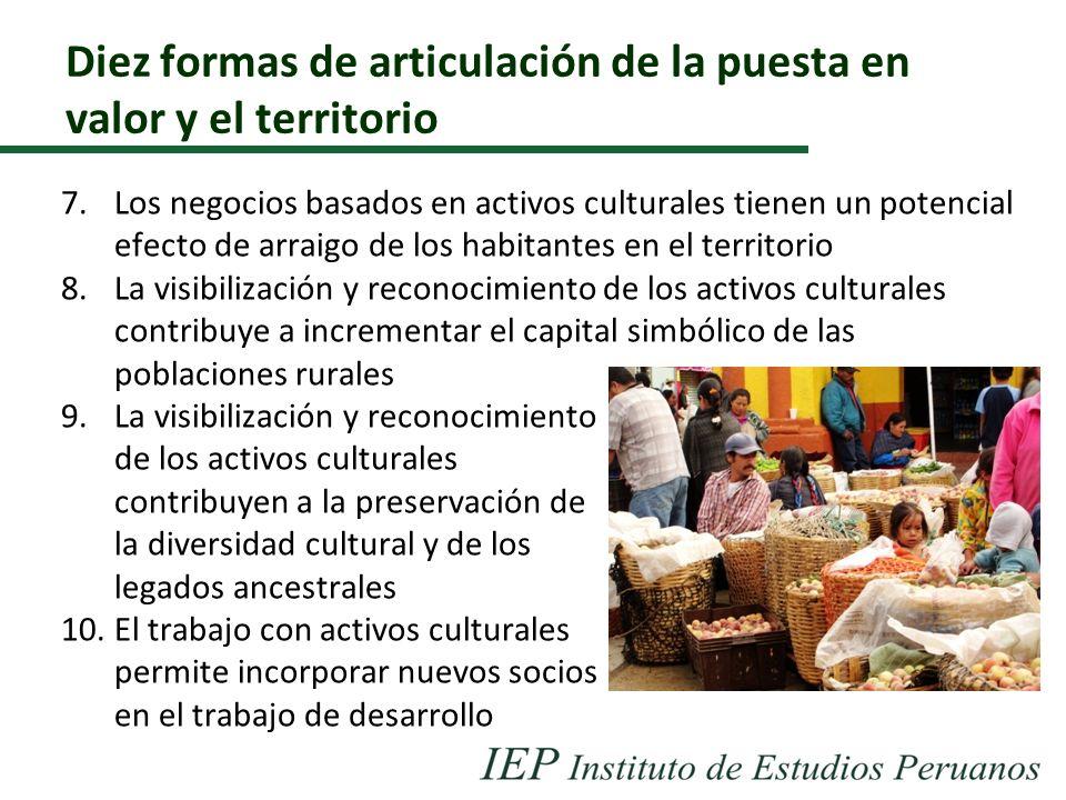 Diez formas de articulación de la puesta en valor y el territorio 7.Los negocios basados en activos culturales tienen un potencial efecto de arraigo d