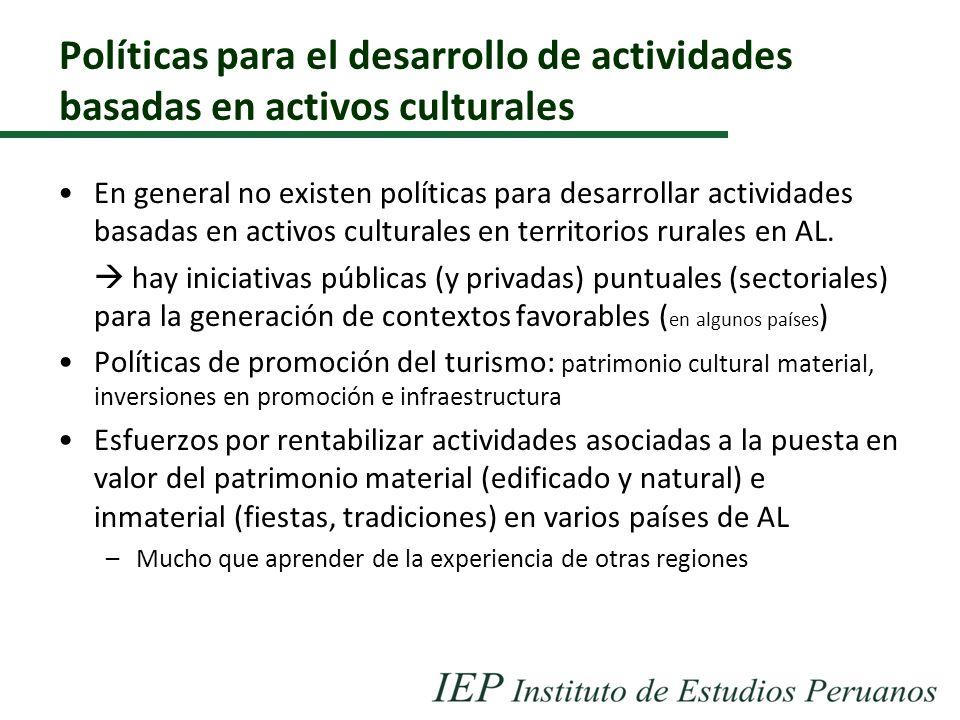 Políticas para el desarrollo de actividades basadas en activos culturales En general no existen políticas para desarrollar actividades basadas en acti