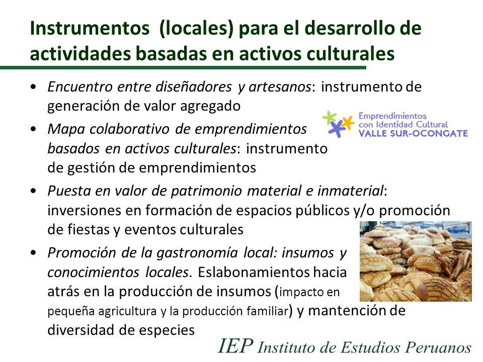 Instrumentos (locales) para el desarrollo de actividades basadas en activos culturales Encuentro entre diseñadores y artesanos: instrumento de generac