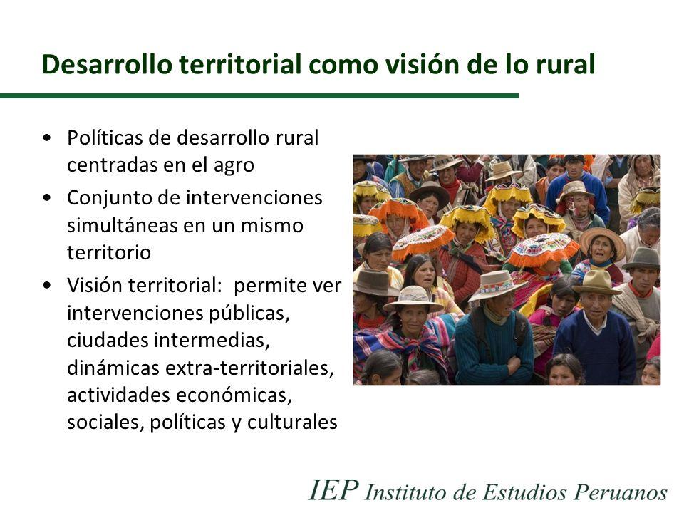 Desarrollo territorial como visión de lo rural Políticas de desarrollo rural centradas en el agro Conjunto de intervenciones simultáneas en un mismo t