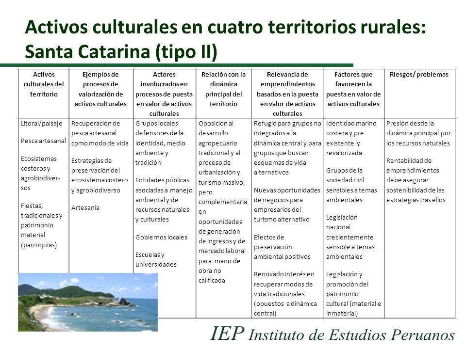 Activos culturales en cuatro territorios rurales: Santa Catarina (tipo II) Activos culturales del territorio Ejemplos de procesos de valorización de a