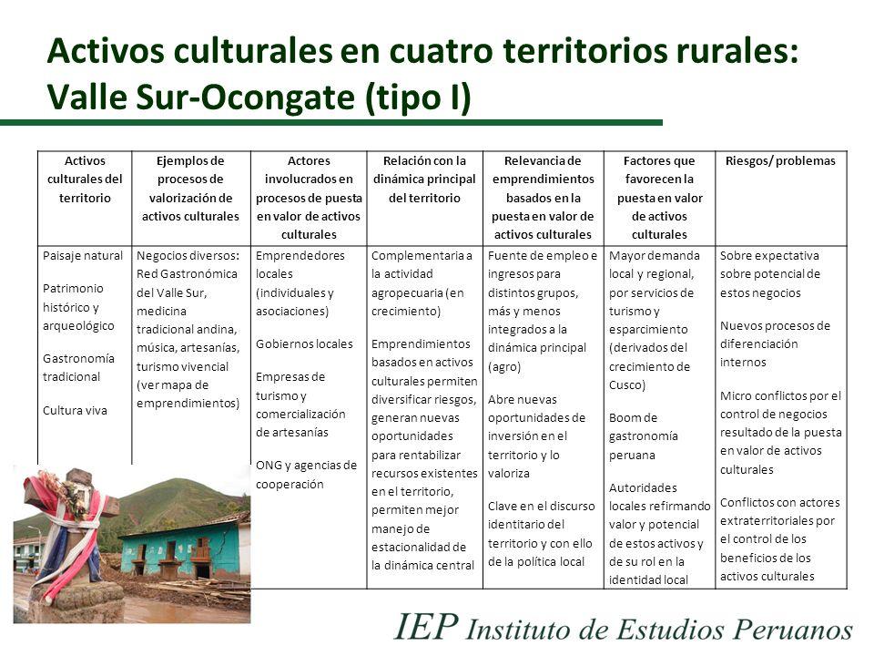 Activos culturales en cuatro territorios rurales: Valle Sur-Ocongate (tipo I) Activos culturales del territorio Ejemplos de procesos de valorización d