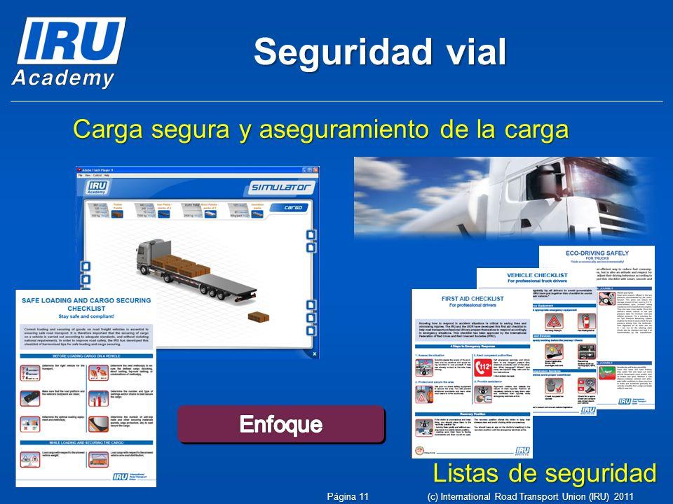 Carga segura y aseguramiento de la carga Listas de seguridad Seguridad vial Página 11 (c) International Road Transport Union (IRU) 2011
