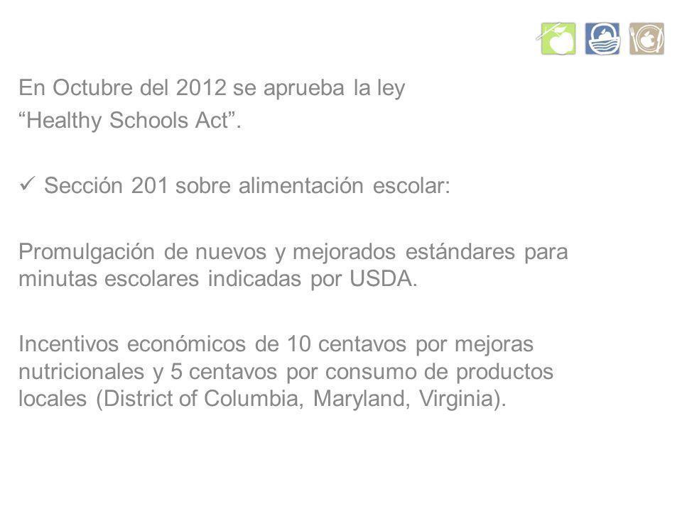 En Octubre del 2012 se aprueba la ley Healthy Schools Act.