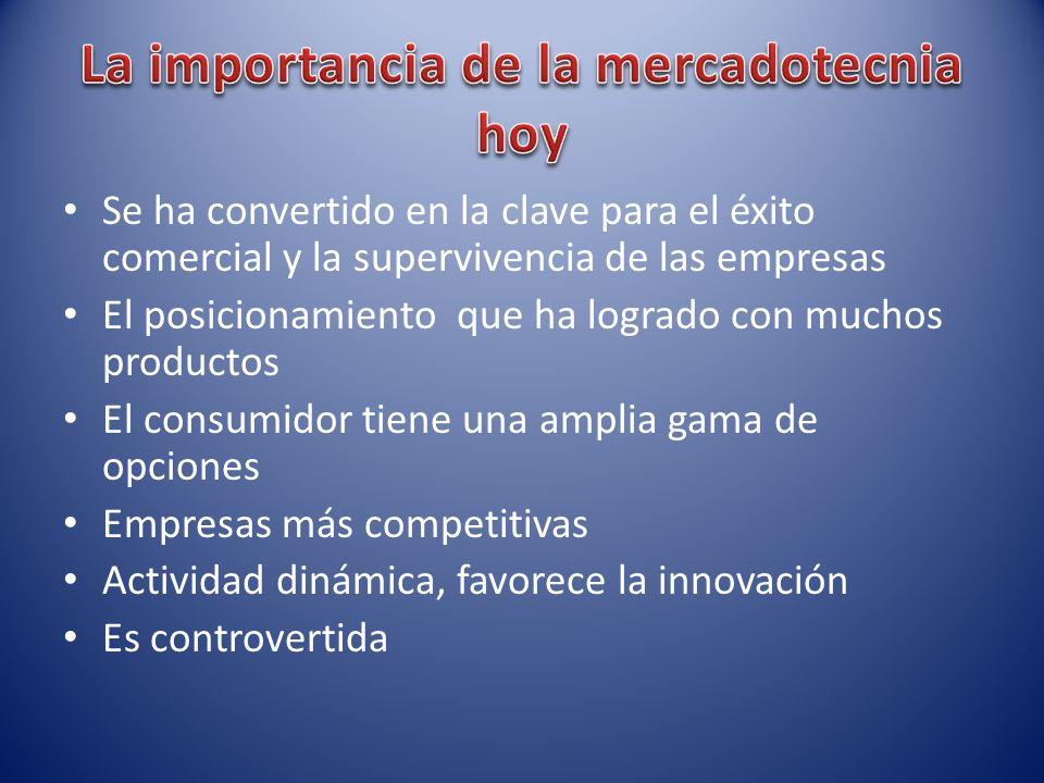 Se ha convertido en la clave para el éxito comercial y la supervivencia de las empresas El posicionamiento que ha logrado con muchos productos El cons