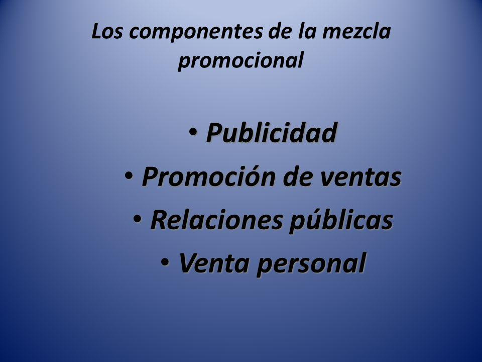 Los componentes de la mezcla promocional Publicidad Publicidad Promoción de ventas Promoción de ventas Relaciones públicas Relaciones públicas Venta p