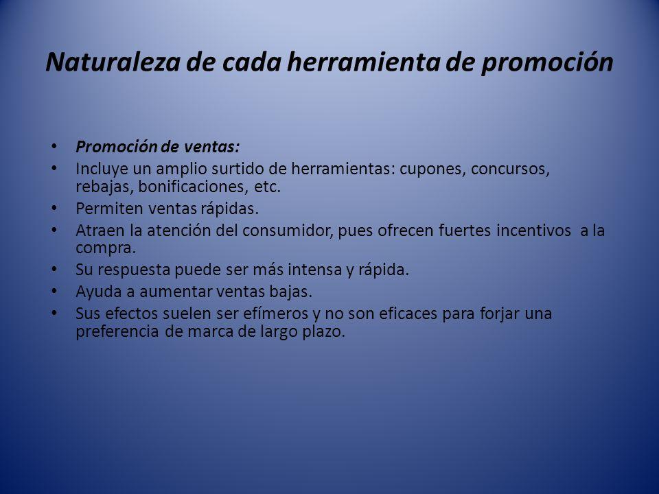 Naturaleza de cada herramienta de promoción Promoción de ventas: Incluye un amplio surtido de herramientas: cupones, concursos, rebajas, bonificacione
