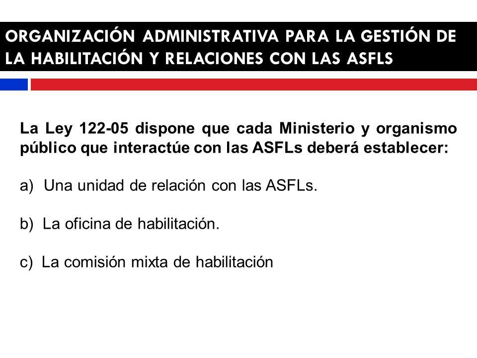 ORGANIZACIÓN ADMINISTRATIVA PARA LA GESTIÓN DE LA HABILITACIÓN Y RELACIONES CON LAS ASFLS La Ley 122-05 dispone que cada Ministerio y organismo público que interactúe con las ASFLs deberá establecer: a)Una unidad de relación con las ASFLs.