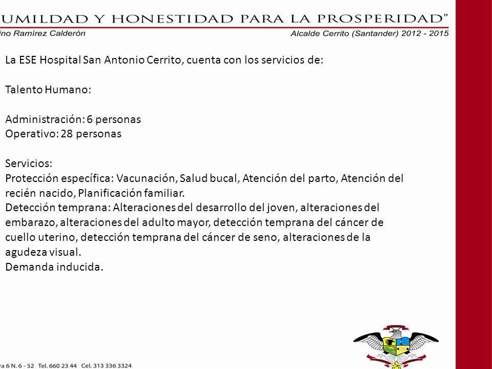 La ESE Hospital San Antonio Cerrito, cuenta con los servicios de: Talento Humano: Administración: 6 personas Operativo: 28 personas Servicios: Protecc