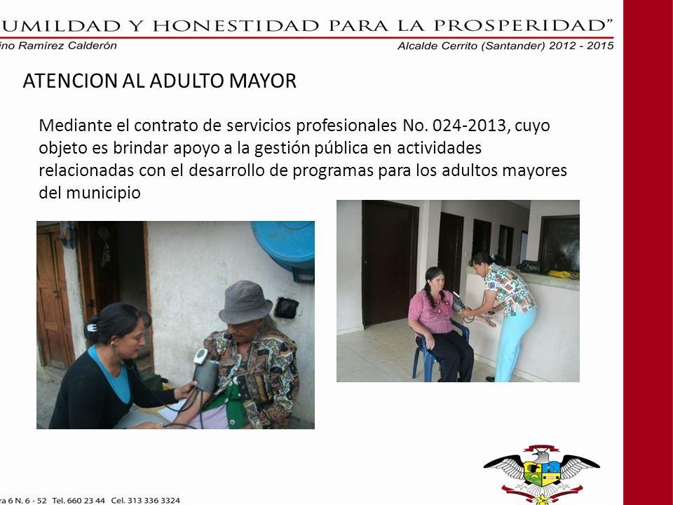 ATENCION AL ADULTO MAYOR Mediante el contrato de servicios profesionales No. 024-2013, cuyo objeto es brindar apoyo a la gestión pública en actividade