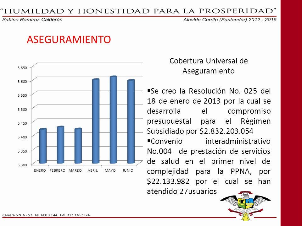 ASEGURAMIENTO Cobertura Universal de Aseguramiento Se creo la Resolución No. 025 del 18 de enero de 2013 por la cual se desarrolla el compromiso presu