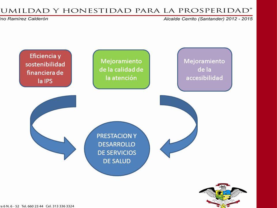 PRESTACION Y DESARROLLO DE SERVICIOS DE SALUD Eficiencia y sostenibilidad financiera de la IPS Mejoramiento de la calidad de la atención Mejoramiento