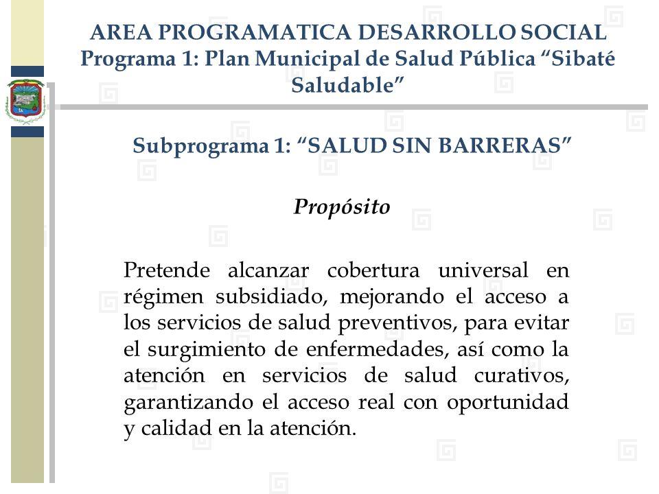 AREA PROGRAMATICA DESARROLLO SOCIAL Programa 1: Plan Municipal de Salud Pública Sibaté Saludable Subprograma 1: SALUD SIN BARRERAS Pretende alcanzar c