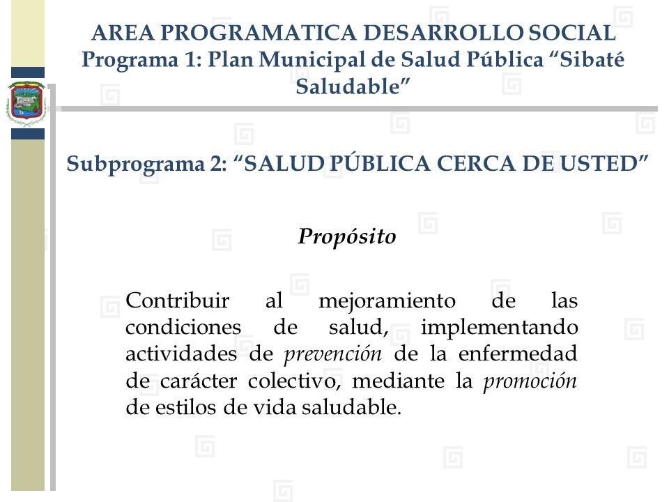 Subprograma 2: SALUD PÚBLICA CERCA DE USTED Contribuir al mejoramiento de las condiciones de salud, implementando actividades de prevención de la enfe