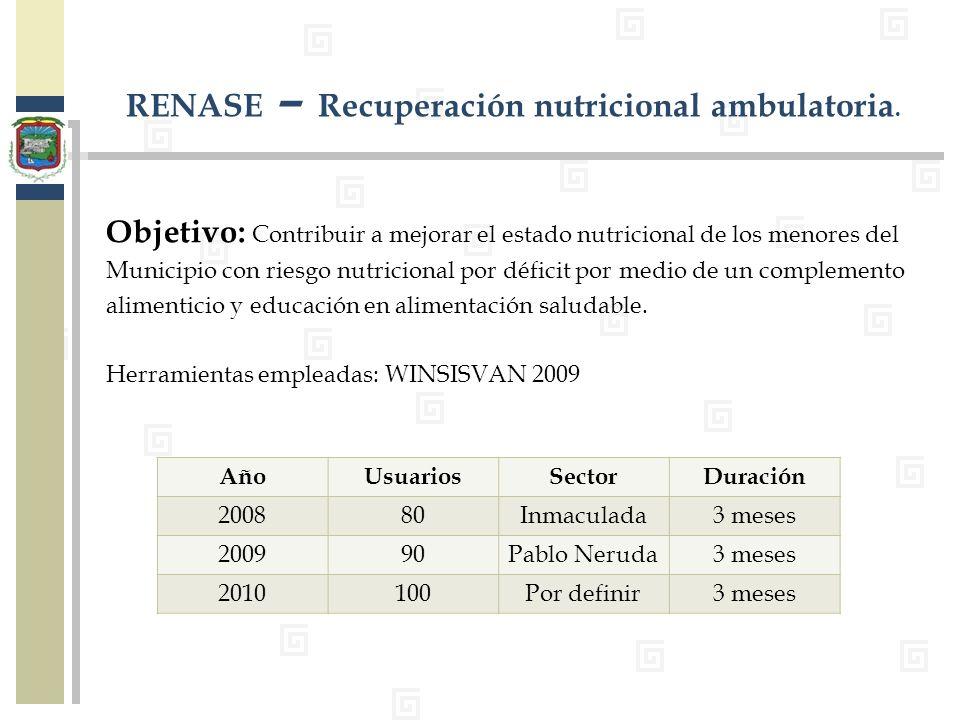 Objetivo: Contribuir a mejorar el estado nutricional de los menores del Municipio con riesgo nutricional por déficit por medio de un complemento alime