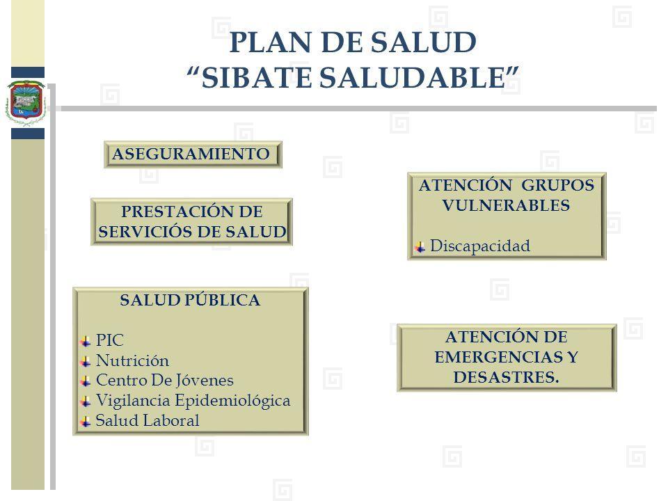 ATENCIÓN DE EMERGENCIAS Y DESASTRES. PLAN DE SALUD SIBATE SALUDABLE ASEGURAMIENTO PRESTACIÓN DE SERVICIÓS DE SALUD SALUD PÚBLICA PIC Nutrición Centro