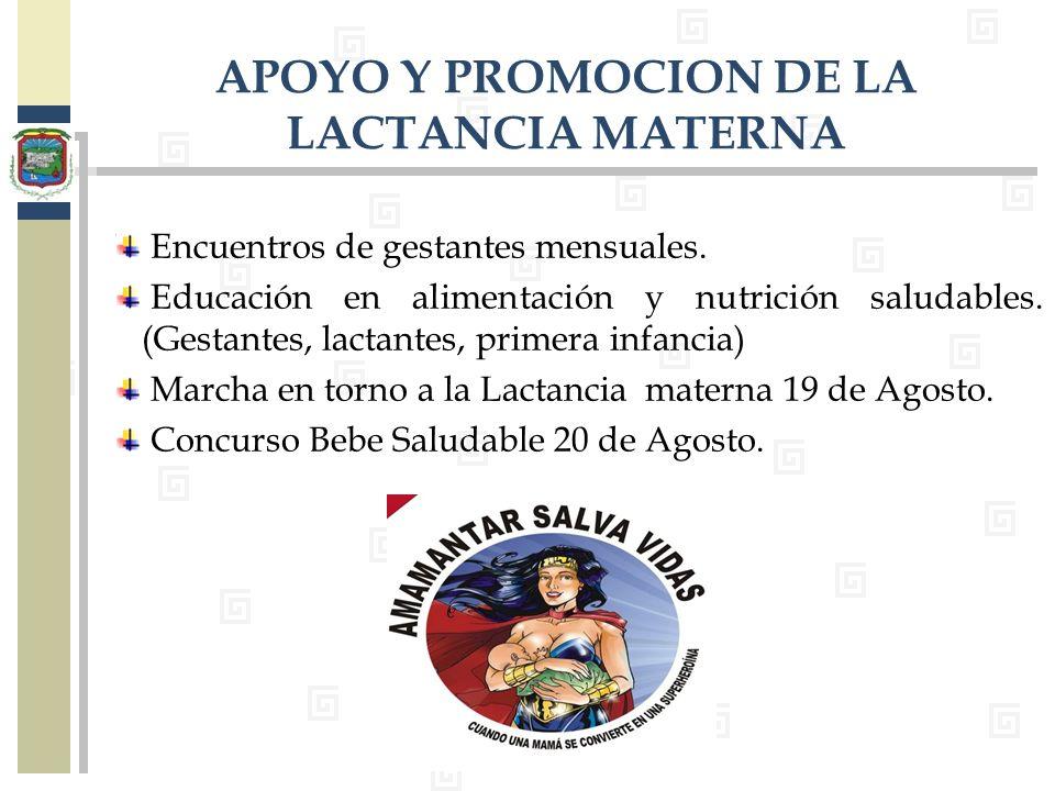 Encuentros de gestantes mensuales. Educación en alimentación y nutrición saludables. (Gestantes, lactantes, primera infancia) Marcha en torno a la Lac