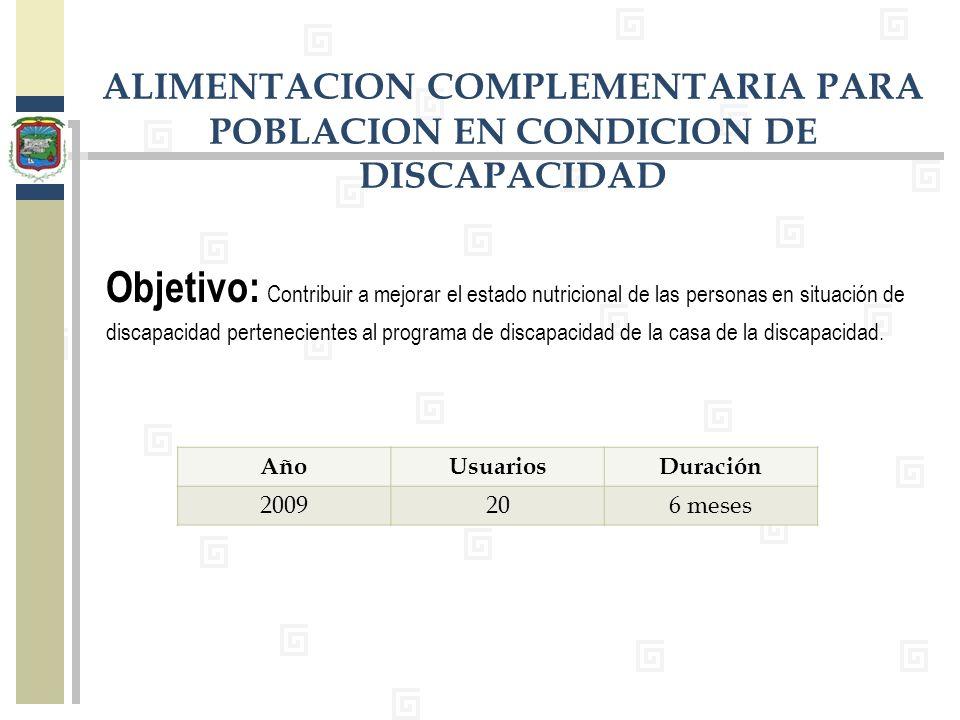 Objetivo: Contribuir a mejorar el estado nutricional de las personas en situación de discapacidad pertenecientes al programa de discapacidad de la cas