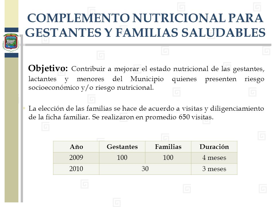 Objetivo: Contribuir a mejorar el estado nutricional de las gestantes, lactantes y menores del Municipio quienes presenten riesgo socioeconómico y/o r