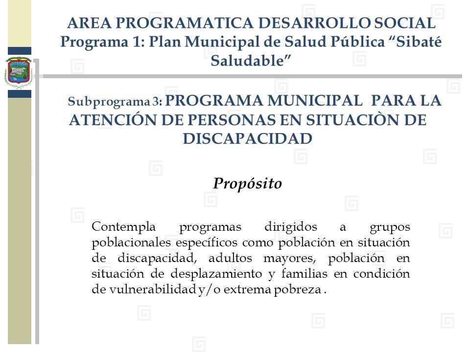 . Subprograma 3: PROGRAMA MUNICIPAL PARA LA ATENCIÓN DE PERSONAS EN SITUACIÒN DE DISCAPACIDAD AREA PROGRAMATICA DESARROLLO SOCIAL Programa 1: Plan Mun
