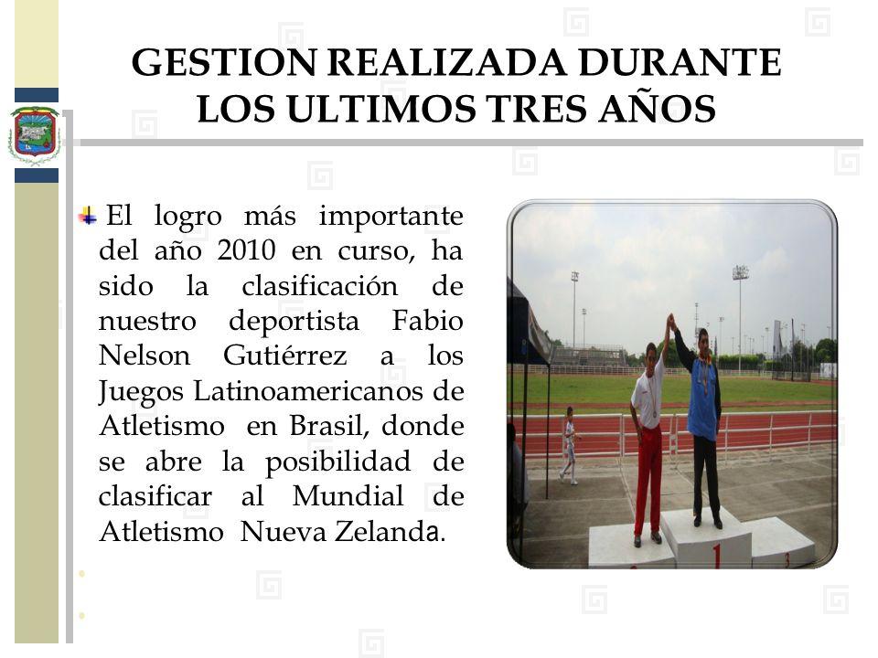 El logro más importante del año 2010 en curso, ha sido la clasificación de nuestro deportista Fabio Nelson Gutiérrez a los Juegos Latinoamericanos de