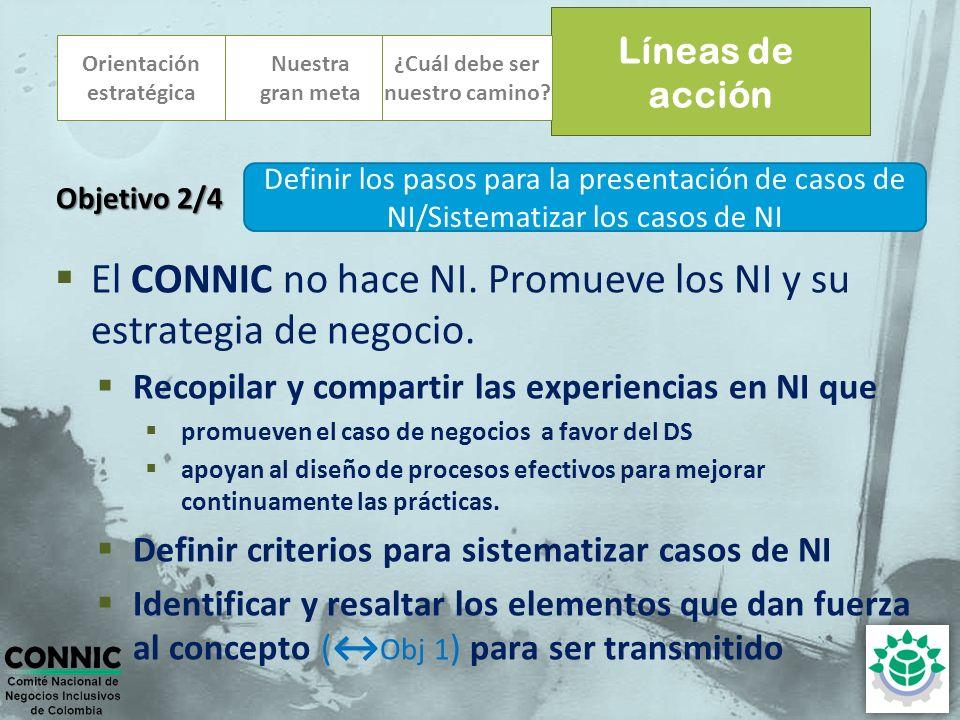 Orientación estratégica El CONNIC no hace NI. Promueve los NI y su estrategia de negocio. Recopilar y compartir las experiencias en NI que promueven e