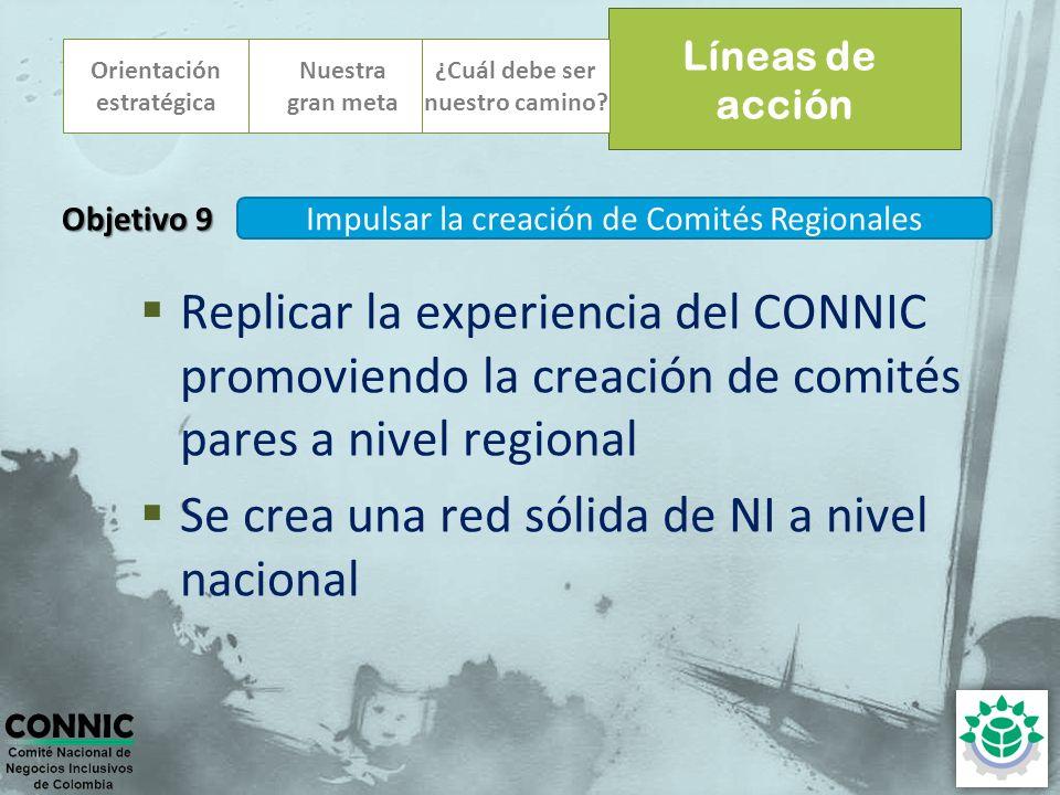 Orientación estratégica Replicar la experiencia del CONNIC promoviendo la creación de comités pares a nivel regional Se crea una red sólida de NI a ni