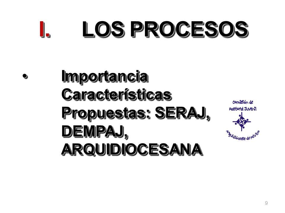 9 I.LOS PROCESOS Importancia Características Propuestas: SERAJ, DEMPAJ, ARQUIDIOCESANAImportancia Características Propuestas: SERAJ, DEMPAJ, ARQUIDIOC