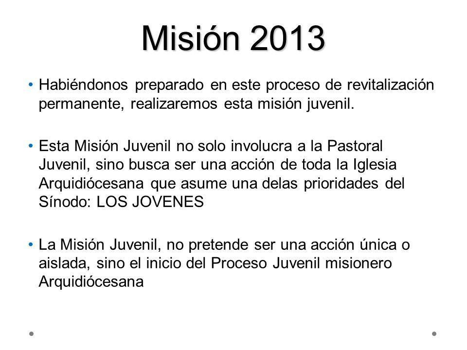 Misión 2013 Habiéndonos preparado en este proceso de revitalización permanente, realizaremos esta misión juvenil. Esta Misión Juvenil no solo involucr