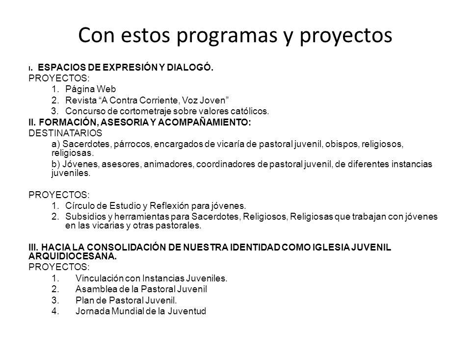Con estos programas y proyectos I. ESPACIOS DE EXPRESIÓN Y DIALOGÓ. PROYECTOS: 1.Página Web 2.Revista A Contra Corriente, Voz Joven 3.Concurso de cort