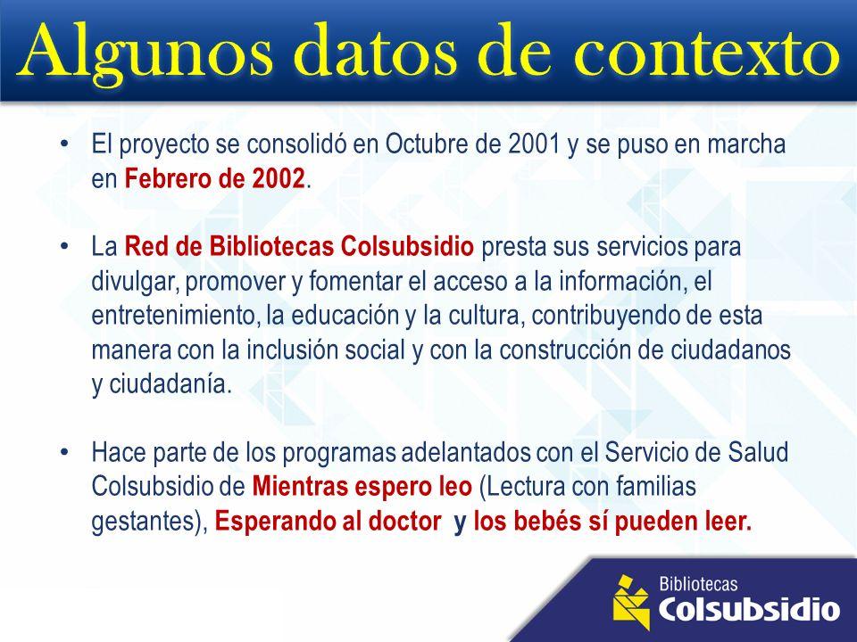 El proyecto se consolidó en Octubre de 2001 y se puso en marcha en Febrero de 2002. La Red de Bibliotecas Colsubsidio presta sus servicios para divulg