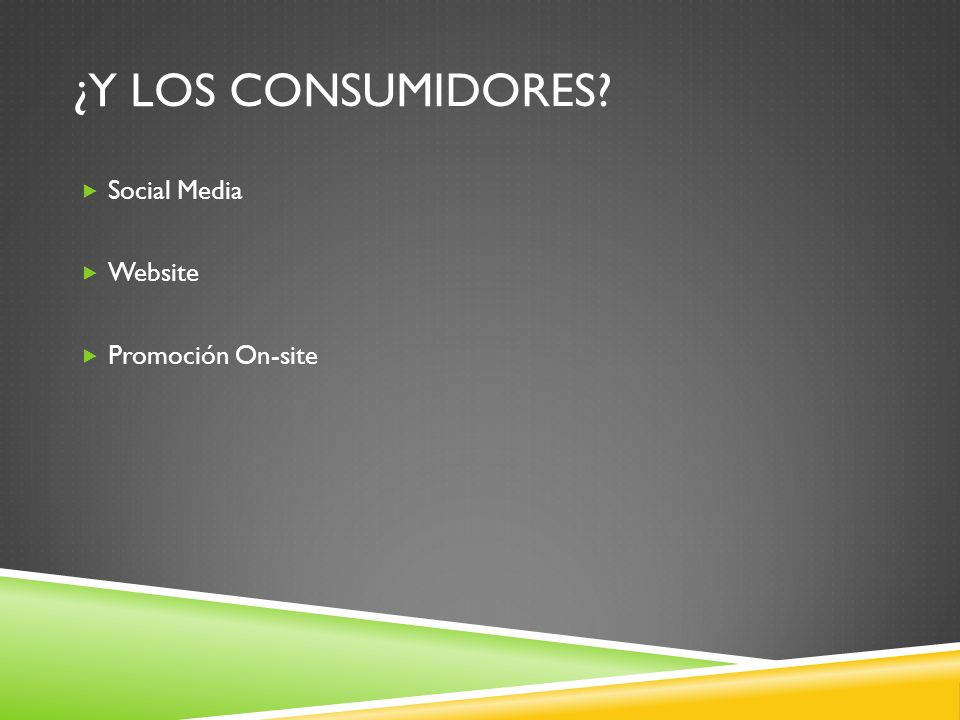 ¿Y LOS CONSUMIDORES? Social Media Website Promoción On-site
