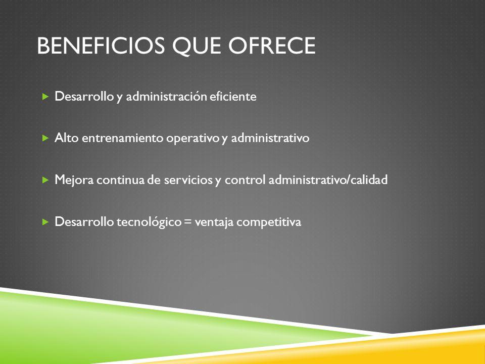 BENEFICIOS QUE OFRECE Desarrollo y administración eficiente Alto entrenamiento operativo y administrativo Mejora continua de servicios y control administrativo/calidad Desarrollo tecnológico = ventaja competitiva