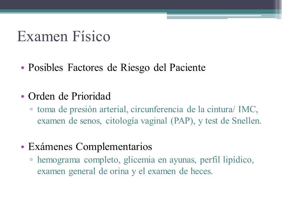 Examen Físico Posibles Factores de Riesgo del Paciente Orden de Prioridad toma de presión arterial, circunferencia de la cintura/ IMC, examen de senos