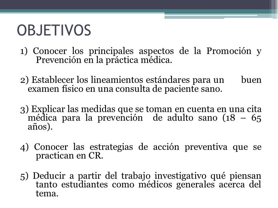 OBJETIVOS 1) Conocer los principales aspectos de la Promoción y Prevención en la práctica médica. 2) Establecer los lineamientos estándares para un bu