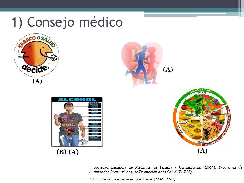 1) Consejo médico (A) (B) * U.S. Preventive Services Task Force. (2010 - 2011). * Sociedad Española de Medicina de Familia y Comunitaria. (2003). Prog