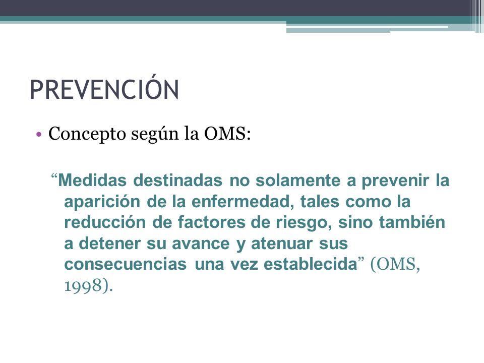 PREVENCIÓN Concepto según la OMS: Medidas destinadas no solamente a prevenir la aparición de la enfermedad, tales como la reducción de factores de rie