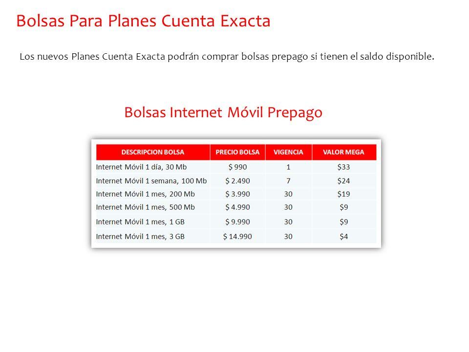 Bolsas Para Planes Cuenta Exacta Los nuevos Planes Cuenta Exacta podrán comprar bolsas prepago si tienen el saldo disponible. Bolsas Internet Móvil Pr