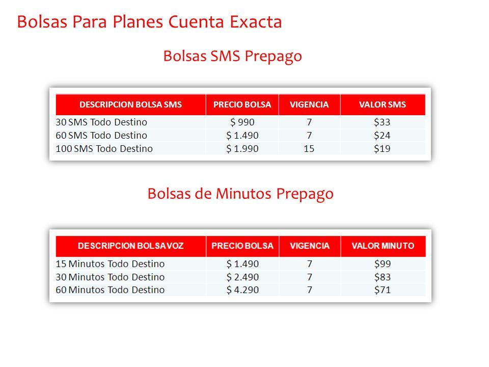 Bolsas SMS Prepago Bolsas de Minutos Prepago Bolsas Para Planes Cuenta Exacta