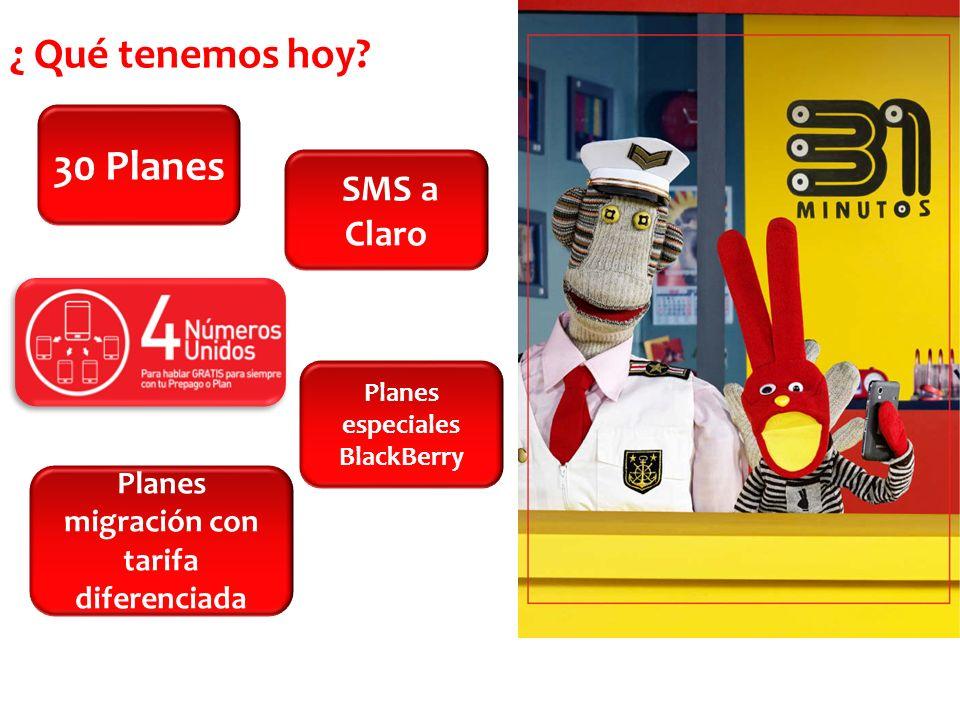 ¿ Qué tenemos hoy? Planes migración con tarifa diferenciada SMS a Claro 30 Planes Planes especiales BlackBerry